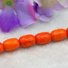 07a0e486d4de Nueva moda naranja Turquía piedra cilindro forma 10x19mm granos flojos 15    2 pc lot Accesorios DIY joyería hecha a mano adecuad.