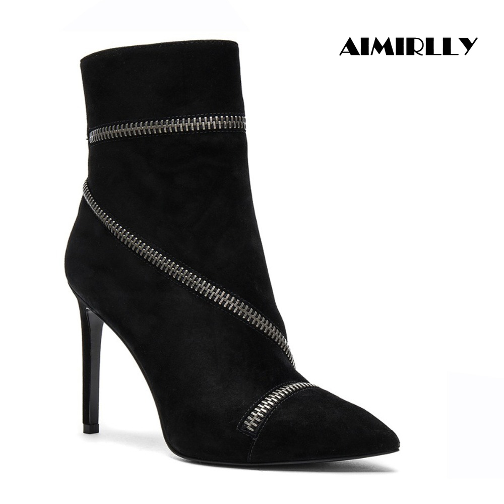 Aimirlly Women Pointed Toe High Heel Ankle Boots Zipper around decorate Booties Stiletto Faux Suede Black
