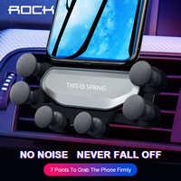 Rock gravidade titular do telefone do carro para iphone samsung huawei telefone celular soporte movil suporte porta celular 360 gps ventilação de ar montagem