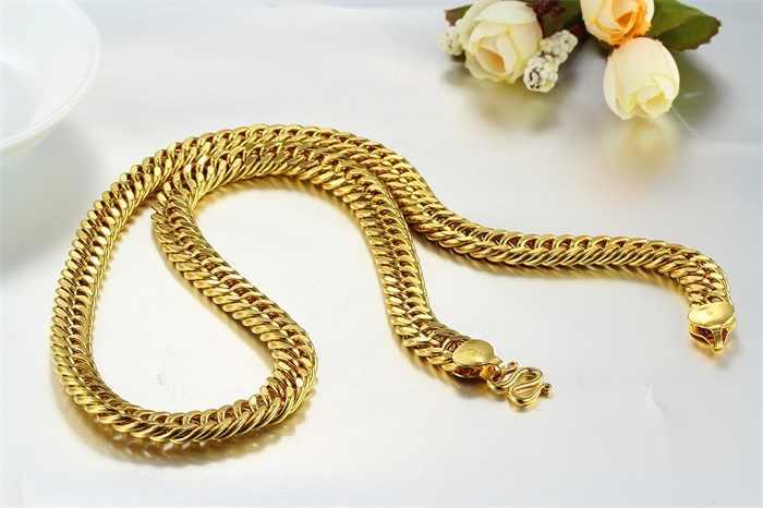 Żółty złoty kolor ciężki szeroki podwójny łańcuszek masywny długi naszyjnik mężczyzn biżuteria Rock moda hip-hop gorący festiwal prezent hurtownia