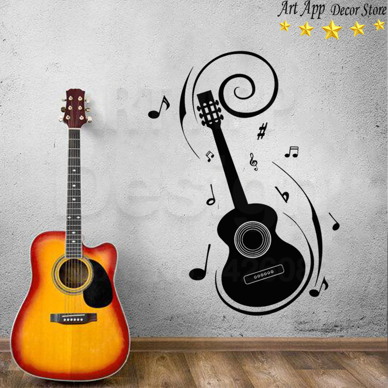 Top Quality Art Design Home Decoration Cheap Vinyl Guitar Wall Sticker House Decor Removable Musical Note