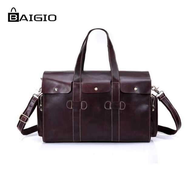 a238e5d0d Baigio Men Overnight Travel Duffle Bags Vintage Style Italian Leather  Designer Carry On Hand Luggage Bags Tote Shoulder Bag