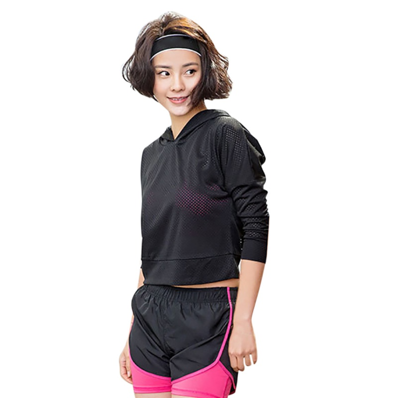 Women Mesh Sportswear Sporting Long Sleeve Hoodies Quick Dry Fitness Hooded Female Pullover Jerseys Sweatshirts