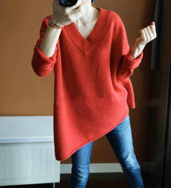 Women Jumpers 100% Cashmere and Wool Knitting Sweaters Woman Winter New Loose style Vneck Woolen Knitwear Clothes Longer Tops