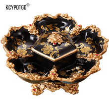 цена на European household compartment with lid dried fruit plate wedding luxury living room coffee table decorations gift candy box