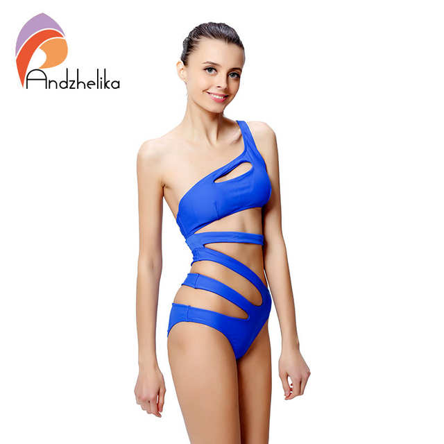 0b7b76a521c placeholder 2018 Sexy One Piece Swimsuit Bandage For Women Solid White and  Blue One shoulder Cut Out