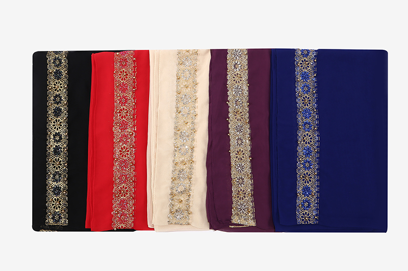 100 pcs women's lace chiffon silk gold beads scarf glitter floral plain hijab muslim pearl nice 9 color scarves/shawls 180*85cm