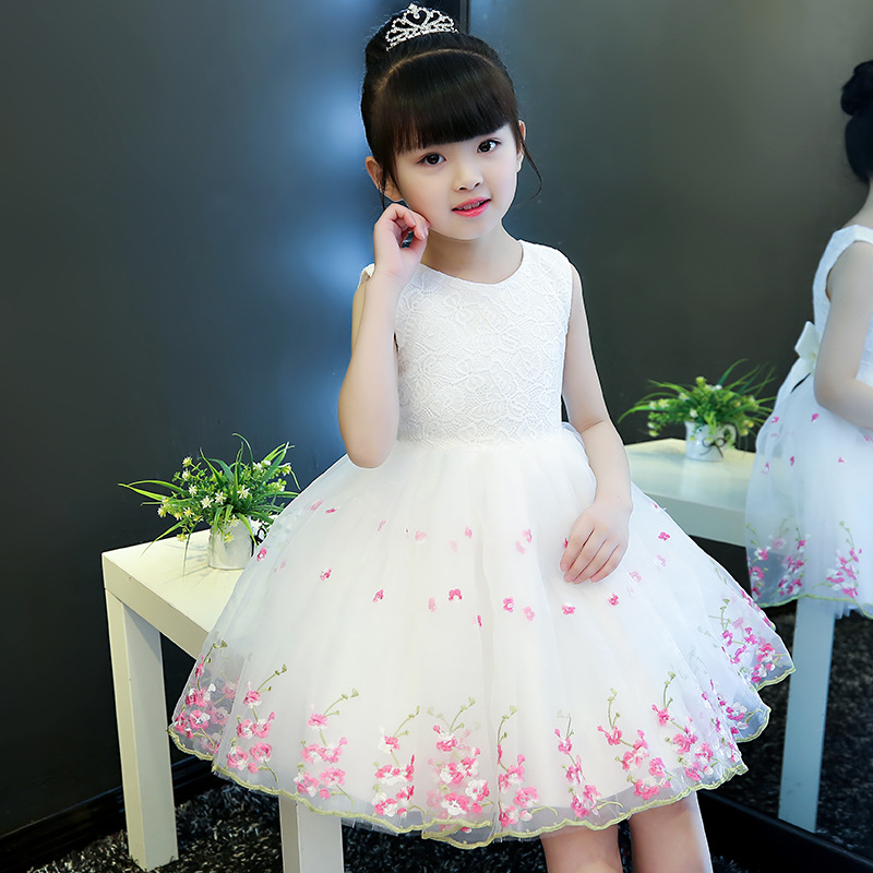 Flower Girl Dress White Kid Girls First Communion Dresses Tulle Lace Wedding Long Princess Costume For Junior Children Clothes 5 16y teenage girls white long high waist flower princess wedding dress kid prom costume formal gown clothes for girl ceremony
