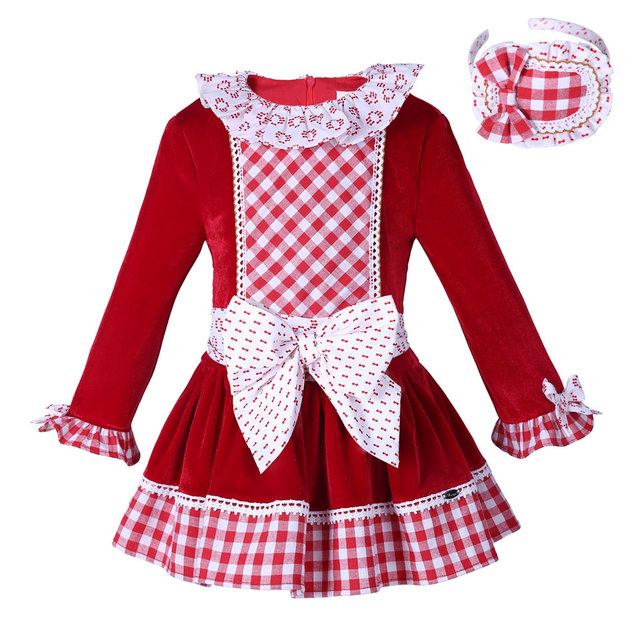 pettigirl red velvet girls dress boutique girl christmas dress plaid with headwear bow children clothes g - Girl Christmas Dresses