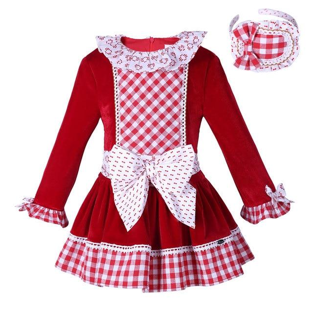 pettigirl red velvet girls dress boutique girl christmas dress plaid with headwear bow children clothes g - Girls Plaid Christmas Dress