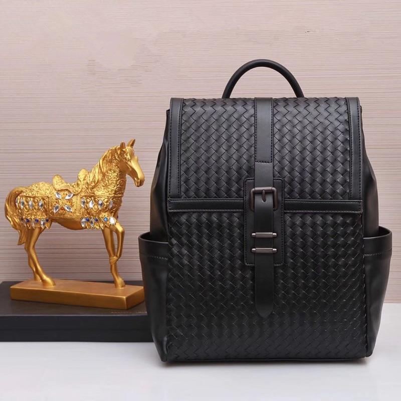 Kaisiludi leather knitting men s bag cowhide men s school bag large capacity two shoulder bag