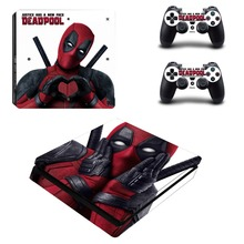 DeadPool Design Skin Full Cover PS4 Slim Sticker for Sony Playstation 4 Console System and Two Controller Vinyl Stickers