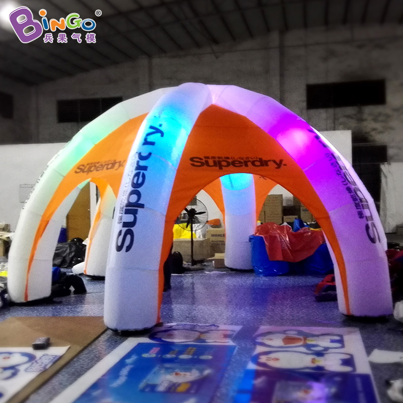 Durable 6m advertising tent with LED lights six legs inflatable tents with customized logo printing spider dome marquee toy tent durable 6 100 290107