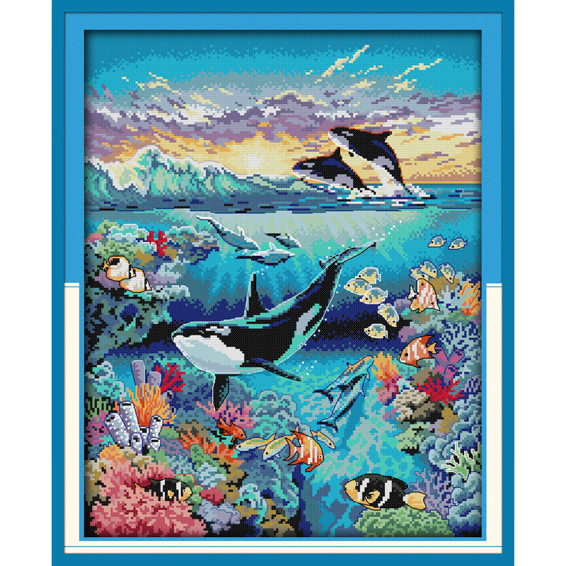 Everlasting love Christmas Underwater world Chinese cross stitch kits Ecological cotton 14CT and 11CT New store sales promotion