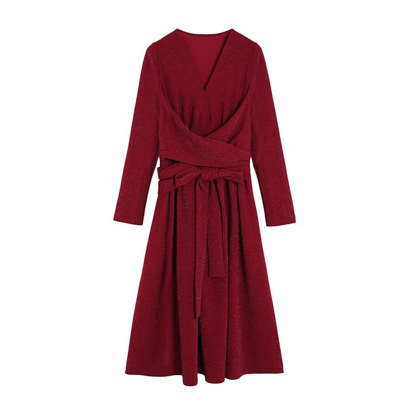 Nal044 Vino Vestito Ordine Elegante Femminile Delle Francese Donne A Primavera Il Scollo V Nuovo Su Di Formato Con Libero Sexy Del Rosso Più Trasporto rEWqBr6g
