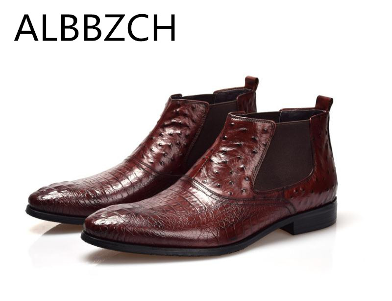 Fashion chelsea genuine leather men boots wedding dress shoespointed toe slip on emboosed cow leather business work ankle bootsFashion chelsea genuine leather men boots wedding dress shoespointed toe slip on emboosed cow leather business work ankle boots