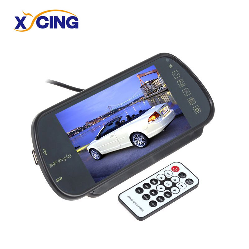 XYCING 7 inch Color TFT LCD Car Monitor Vehicle Rear View Mirror Parking Monitor MP5 SD USB FM Radio For Reverse Camera 7 inch touch screen bluetooth mp5 car rear view mirror monitor tf usb 800 480 lcd fpv bt mirror pal ntsc for car or truck bus