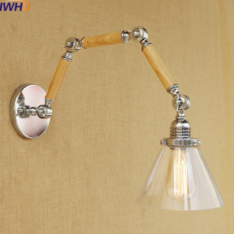 IWHD Loft Style Industrial Wall Lamps For Reading Vintage Led Wall Light Up Down Lighting Stairs Bedroom Sconce Wandlamp iwhd swing arm sconce vintage wall lamp loft retro glass lampshade wandlamp black iron led wall light up down lighting stairs