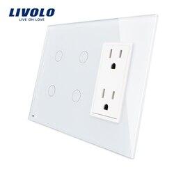 Livolo US standard Vertical, 2Gang+2Gang +US Socket(15A) , Luxury White Crystal Glass, VL-C502-11/ C502-11/C5C2US-11