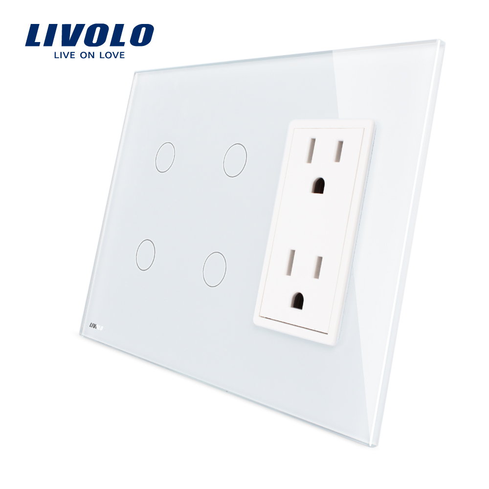 Livolo США Стандартный Вертикальный, 2 Gang + 2 Gang разъем (15A), роскошный белый кристалл стекло, VL-C502-11/C502-11/C5C2US-11