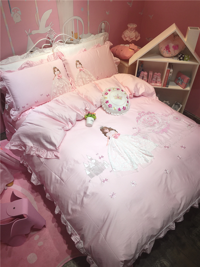 Pink Cartoon Princess 3D Embrodiery 80S Egyptian cotton Bedding Set Duvet Cover Bed Linen Bed sheet Pillowcase Gift For Child in Bedding Sets from Home Garden