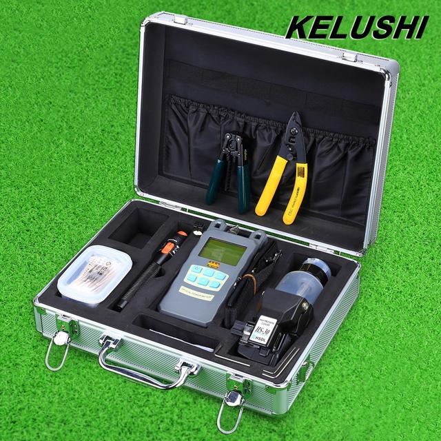 KELUSHI 23 EN 1 Kit de Herramienta de Fibra Óptica FTTH núcleo cerámico 10 mW/Localizador Visual de Fallos y HS-30 de Cuchilla De la Fibra medidor de potencia óptica