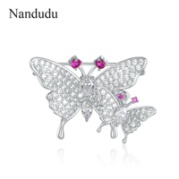 Nandudu White Gold Color Austrian Crystal Brooch Pin Sweet Mother-baby Lovely Butterfly Brooches Hot Sale Birthday Gift X294