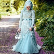 Blue Muslim Evening Dresses Hijab Long Sleeves Lace Applique Saudi Arabic Dresses Country Western Robes De Soiree 2017 Longue