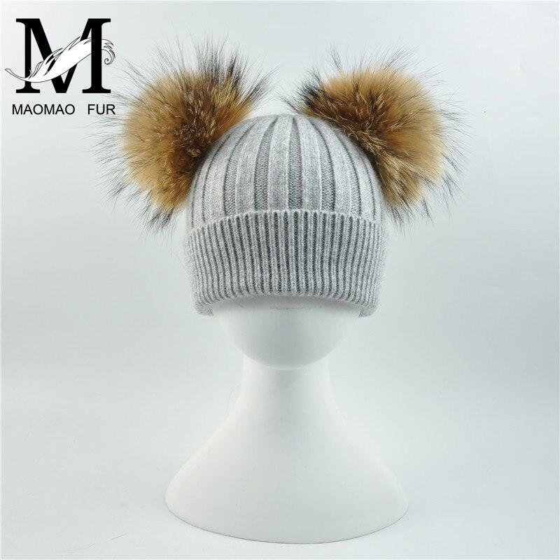 3862bf85035f Kids Double Real Fur Pom Pom Hat Winter Girls Boys Knitted Beanie Children  Ball Cute Caps