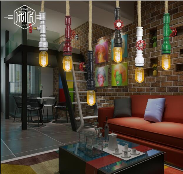 Edison Loft Style Retro Industrial lamp Water Pipe Vintage Pendant Light Fixtures For Dinning Room Hanging lights Lampara Lampen loft style metal water pipe lamp retro edison pendant light fixtures vintage industrial lighting dining room hanging lamp