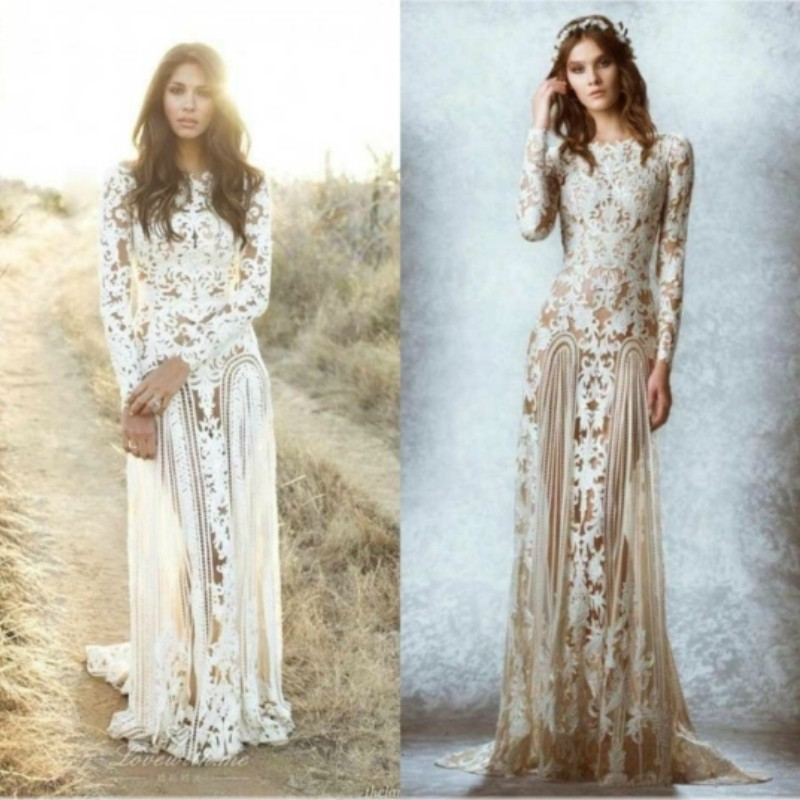 Sexy Zuhair Murad Wedding Dresses Long Sleeve Lace Boho Dress Illusion Bohemian Bridal Gowns Custom Made In From Weddings Events