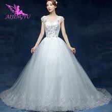 AIJINGYU 2021 שנהב מותאם אישית חדש מכירה לוהטת זול כדור שמלת תחרה עד בחזרה פורמליות הכלה שמלות כלה שמלת WU144