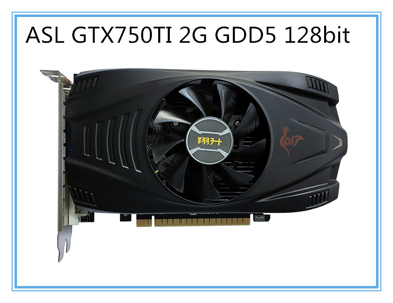 Used ASL GTX750TI 2G GDD5 128bit Graphics Card  Desktop Computer Game Office For NVIDIA Geforce GT750TI  Hdmi Dvi