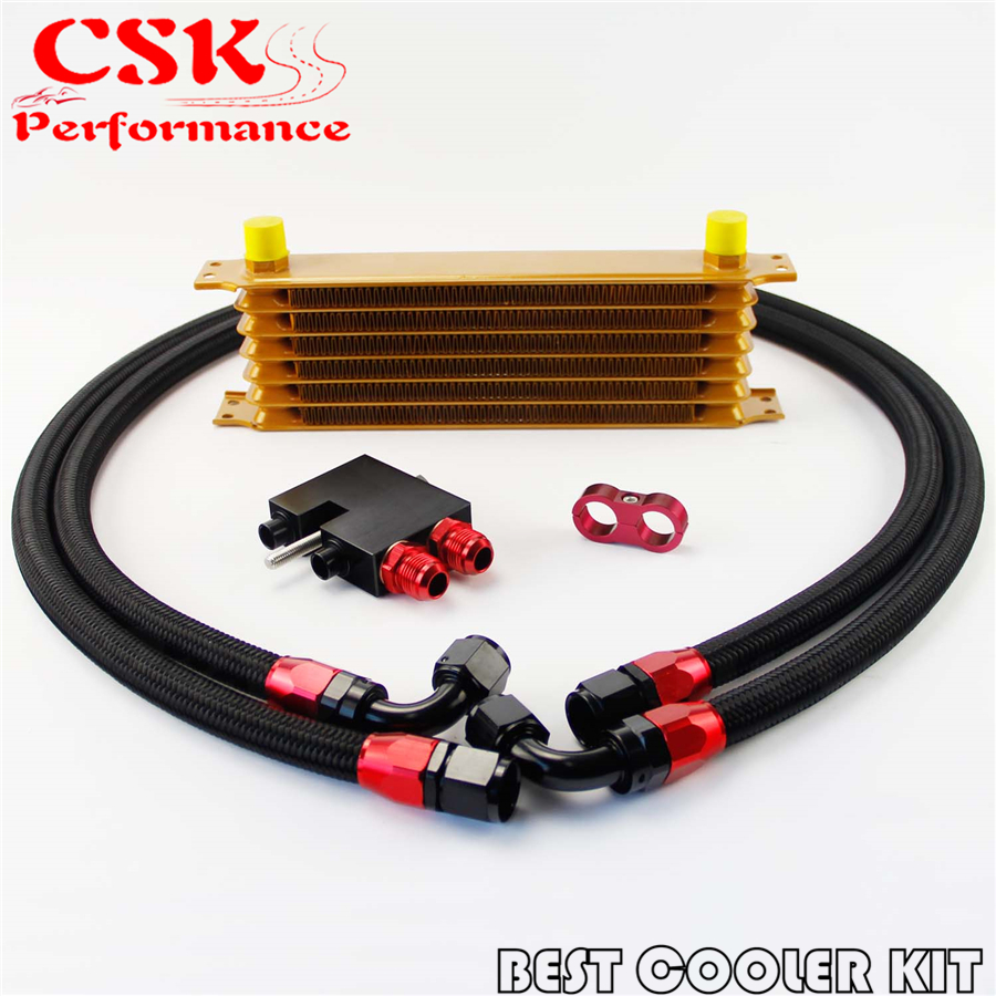 7 Row 262mm AN10 Trust Oil Cooler Kit Fits For BMW N54 Engine Twin Turbo 135 E82 335 E90 E92 E93 Gold7 Row 262mm AN10 Trust Oil Cooler Kit Fits For BMW N54 Engine Twin Turbo 135 E82 335 E90 E92 E93 Gold