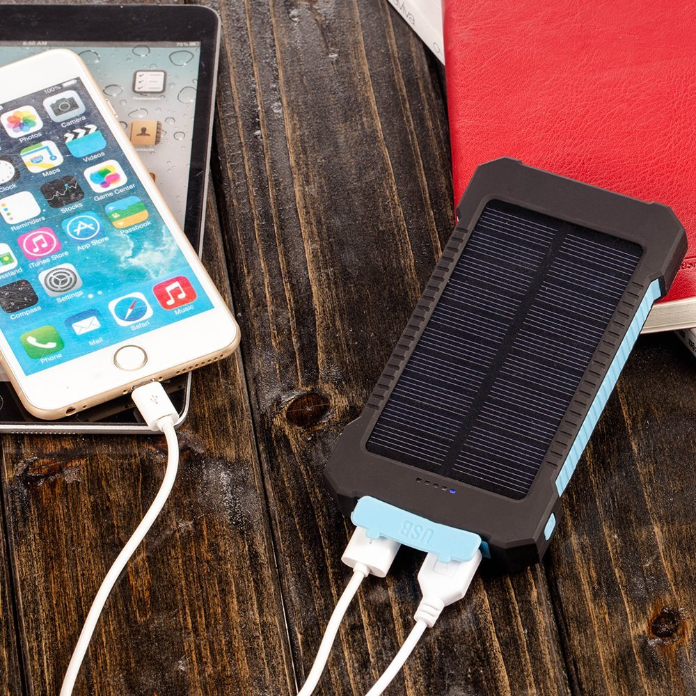 Solar 10000mAh Double USB Solar charger External Battery Portable Charger Bateria Externa Pack for smart phone retail package