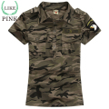 LIKEPINK 2017 Summer Casual Polo Women Tops Camouflage Army Cotton Shirts Polo Femme Polos Mujer Short Sleeve Shirt S~3XL
