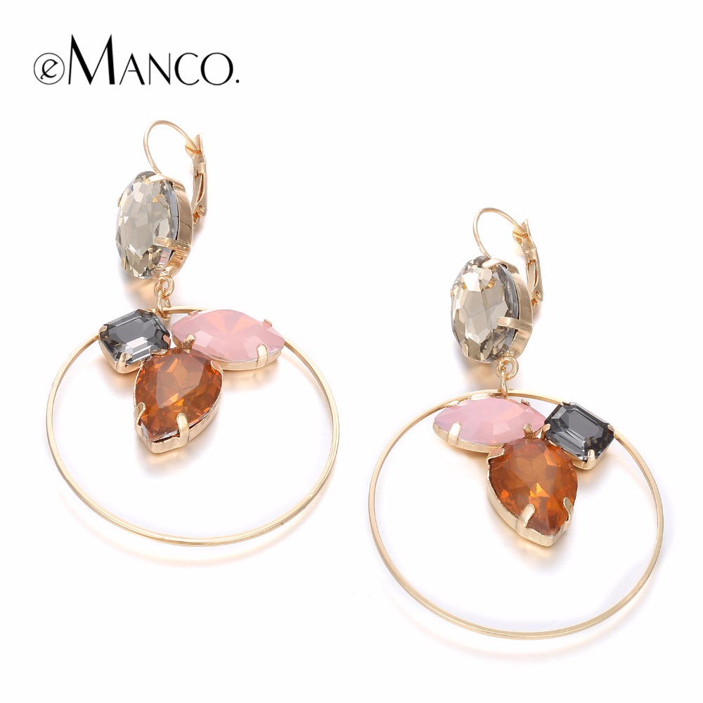eManco Luxury Round Crystal Drop Earrings for Women 4 Items Colorful Stone Charming Pendant Earrings Brand Jewelry Wholesale2018 pair of charming rectangle drop earrings for women