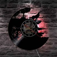 Wolf Vinyl Record Wall Clock Modern Design LED Clocks Backlight Creative Antique Classic CD Wall Watch Home Decor Silent 12 inch