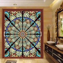 2019 new custom size Church frosted stained glass window film Static Cling home foil door sticker PVC self-adhesive films