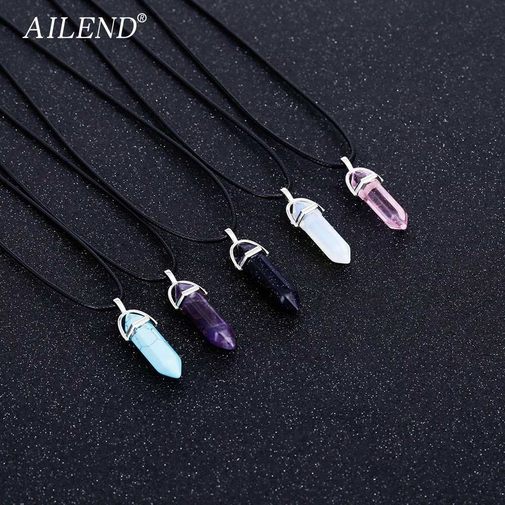 AILEND 2018 New Hot Hexagonal Crystal Tiger Eye turquoises pendentif amethyste Stone Pendant Chains Necklace For Women Jewelry