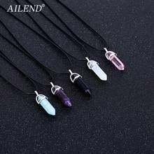 AILEND 2018 New Hot Hexagonal Crystal Tiger Eye turquoises pendentif amethyste Stone Pendant Chains Necklace For Women Jewelry(China)