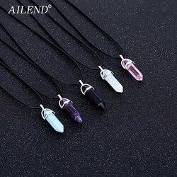 AILEND 2018 Yeni Sıcak Altıgen Kristal Kaplan Gözü turquoises pendentif amethyste Taş Kolye Zincirler Kolye Kadınlar Takı Için