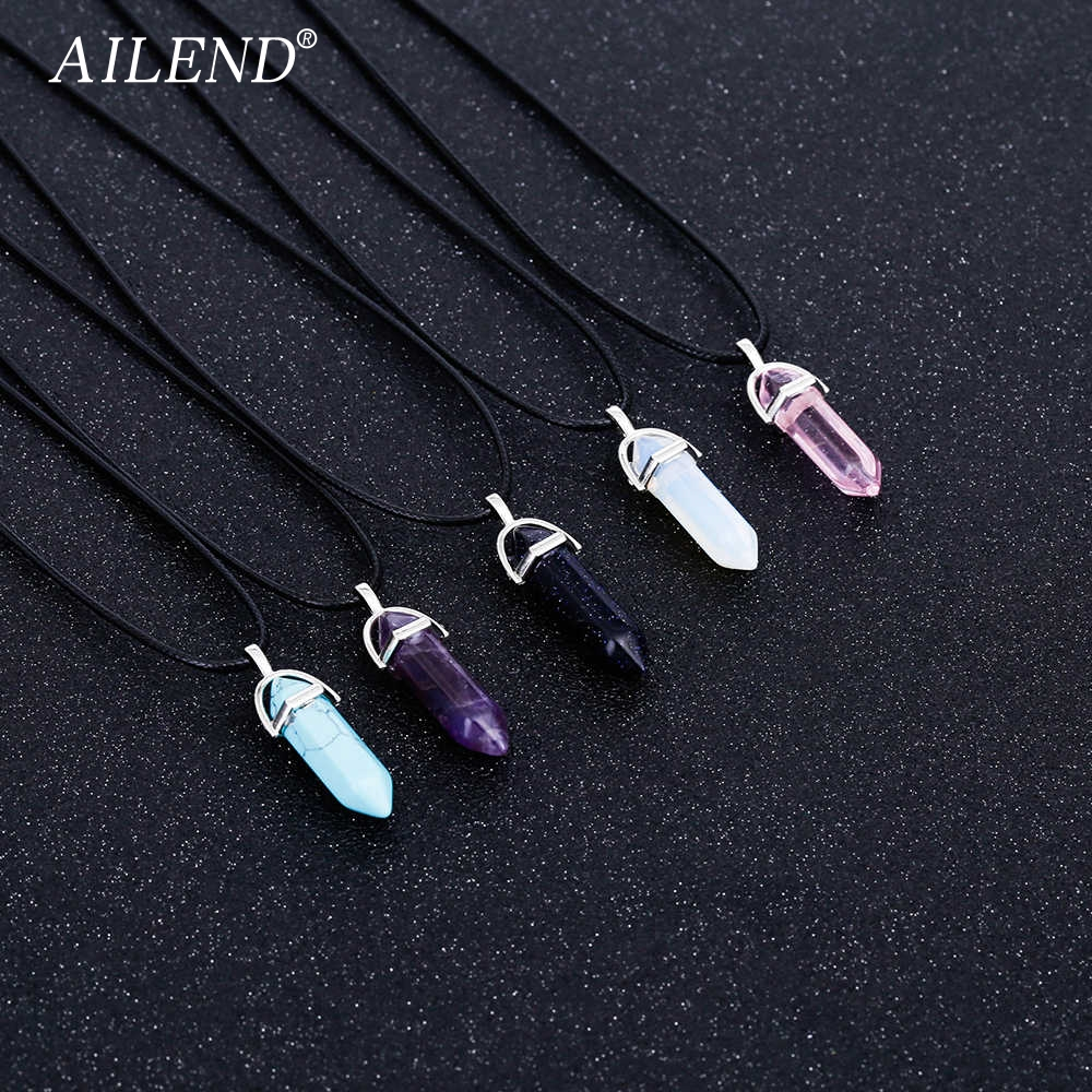 VKME 2018 New Hot Hexagonal Crystal Tiger Eye Turquoises Pendentif Amethyste Stone Pendant Chains Necklace For Women Jewelry