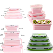 4Pcs/set Silicone Folding Bento Box Collapsible Portable Lunch for Food Dinnerware Container Bowl For Children Adult