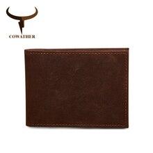 Cowather Корова Натуральная Кожа водительские права кошелек для мужчин Мода Crazy Horse кожа наивысшего качества модные дизайнерские мужские кошельки