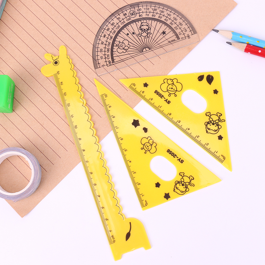 4PCS/Set Cartoon Giraffe Multifunction Rulers 180 Degree Protractor Plastic Ruler Set For Student Drawing Set Creative Gift