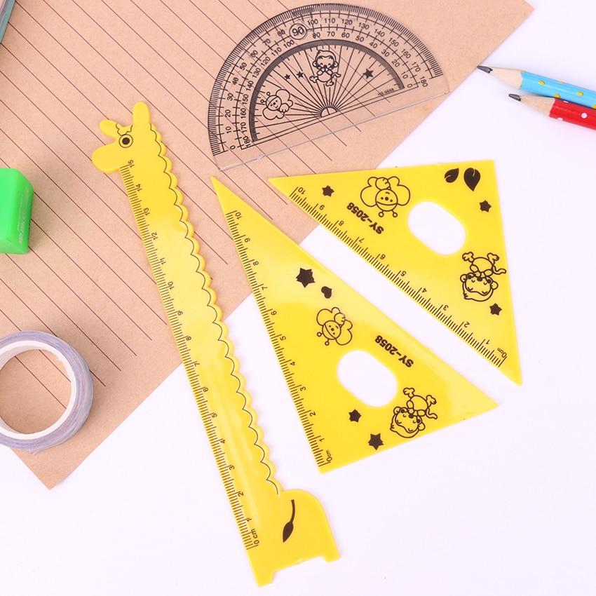 4PCS/Set Cartoon Giraffe Multifunction Rulers 180 Degree Protractor Plastic Ruler Set For Student Drawing Set Creative Gift