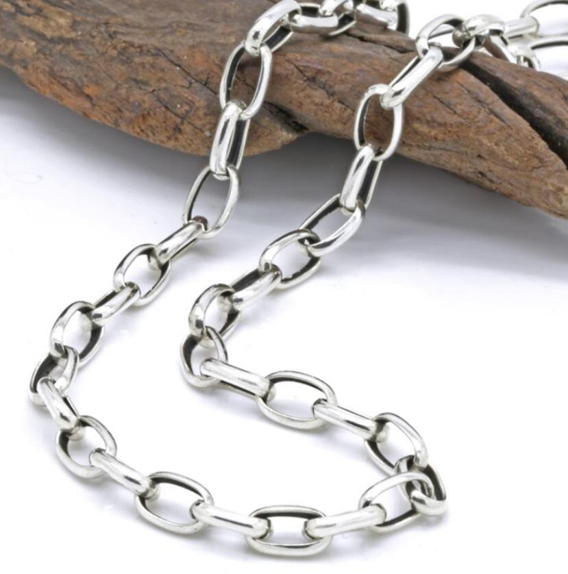 4mm thick flat circle cross link chain silver necklace sterling 925 silver jewelry цена