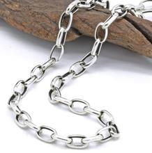 Pure Silver 4mm Thick Flat Circle Cross Link Chain Silver Necklace Sterling 925 Silver Jewelry
