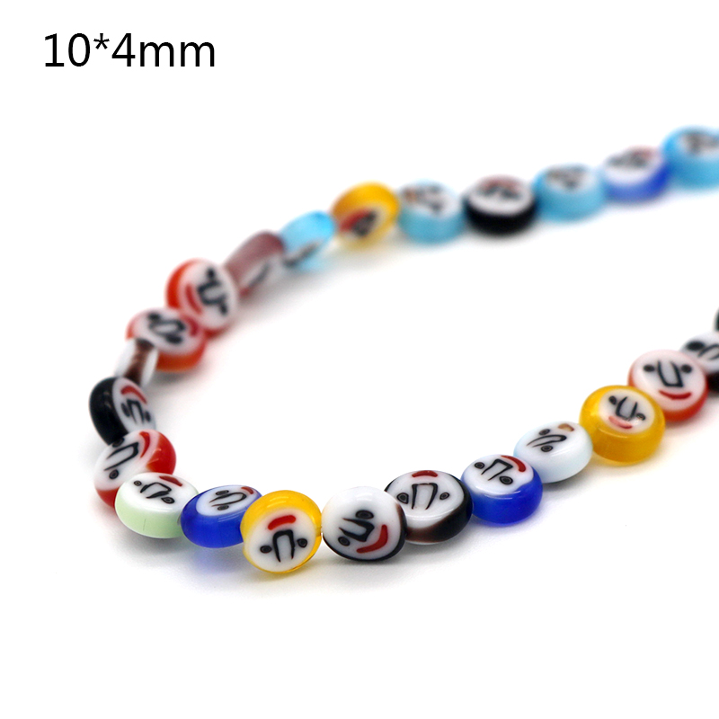 Jewelry & Accessories Beads Frank Wholesale 6x2mm/8x3mm/10x4mm Print Smile Round Shape Beads Fashion Lampwork Glass Beads For Handmade Jewelry Necessary Material